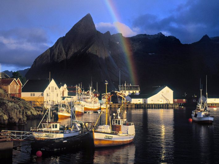 Hamnoy_Rainbow_Sakrisoy_Island_Lofoten_Islands_Norway